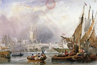 View of the River Thames and Water Craft Below London Bridge, C1825--Giclee Print