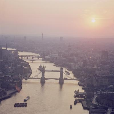 View of the River Thames Featuring Tower Bridge, Looking West--Photographic Print