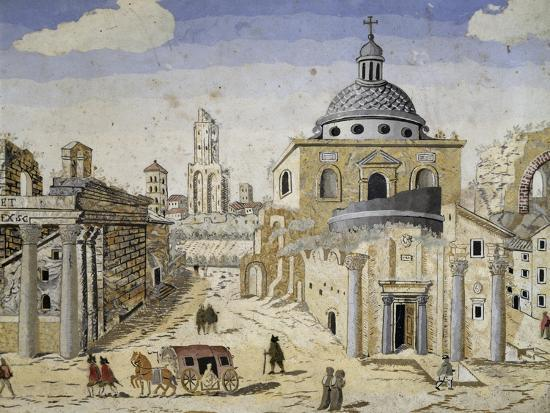 View of the Roman Forum, End of 17th Century, Scagliola on Terracotta Support, Detail--Giclee Print