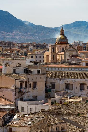 View of the Rooftops of Palermo with the Hills Beyond, Sicily, Italy, Europe-Martin Child-Photographic Print