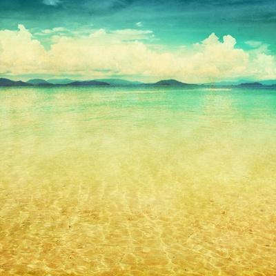 View Of The Sea In Grunge And Retro Style-Elenamiv-Art Print