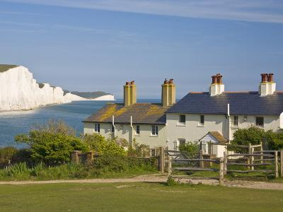 View of the Seven Sisters Cliffs, the Coastguard Cottages on Seaford Head, East Sussex-Neale Clarke-Photographic Print