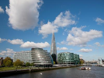 View of the Shard, City Hall and More London Along the River Thames, London, England, UK-Adina Tovy-Photographic Print