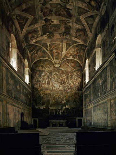 View of the Sistine Chapel Showing the Last Judgement and Part of the Ceiling (Before Restoration)-Michelangelo Buonarroti-Giclee Print