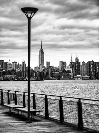 View of the Skyscrapers of Manhattan with the Empire State Building a Jetty in Brooklyn at Sunset-Philippe Hugonnard-Photographic Print