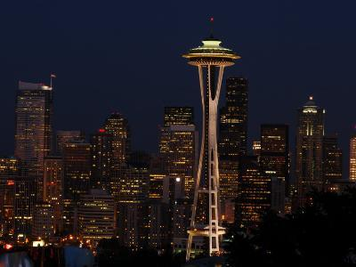 View of the Space Needle and Seattle's Skyline at Night, Washington-Darlyne A^ Murawski-Photographic Print