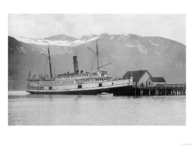 View of the SS City of Seattle at the Dock - Fort Seward, AK-Lantern Press-Art Print