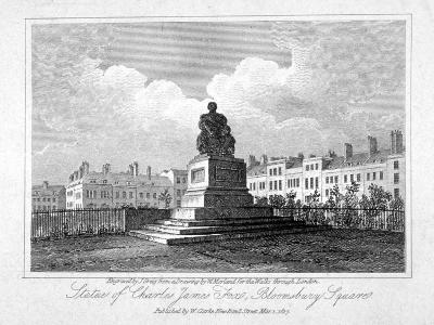 View of the Statue of Charles James Fox in Bloomsbury Square, Bloomsbury, London, 1817-John Greig-Giclee Print