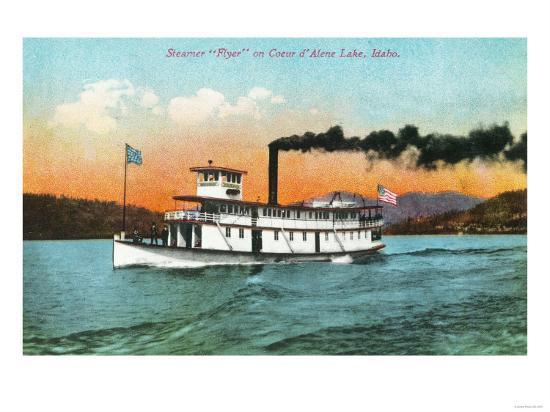 View of the Steamer Flyer on the Lake - Coeur d'Alene, ID-Lantern Press-Art Print
