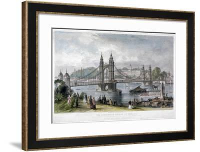 View of the Suspension Bridge at Chelsea, London, 1852-TA Prior-Framed Giclee Print
