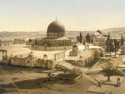View of the Temple Mount with the Dome of the Rock and the El Aqsa Mosque, Jerusalem, C.1880-1900--Photographic Print