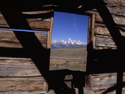 View of the Teton Mountains from an Old Homesteader's Cabin-Ed George-Photographic Print