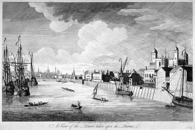 View of the Tower of London with Boats and Passengers on the River Thames, 1751-John Boydell-Giclee Print