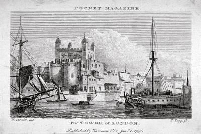 View of the Tower of London with Boats on the River Thames, 1795-Thomas Tagg-Giclee Print