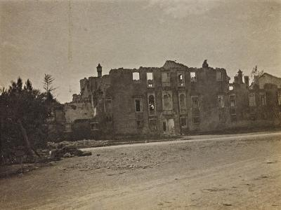 View of the Town Hall of the Village of Begliano in San Canzian D'Isonzo Damaged by Bombing in WWI--Photographic Print