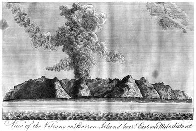 View of the Volcano on Barren Island, Andaman Islands, 1799--Giclee Print