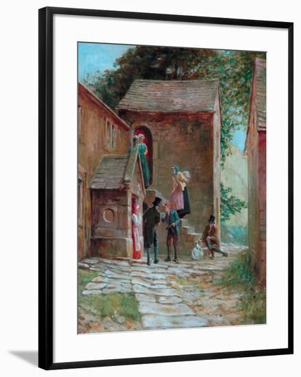 View of the Yard with Figures, Kilnhurst, Todmorden, c.1860-Alfred Walter Bayes-Framed Giclee Print
