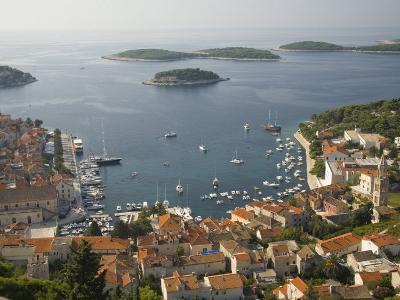 View of town and Adriatic Sea, Hvar Town, Hvar Island, Dalmatia, Croatia-John & Lisa Merrill-Photographic Print