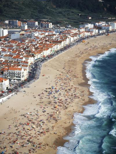 View of Town and Beach from Sitio, Nazare, Portugal-Walter Bibikow-Photographic Print
