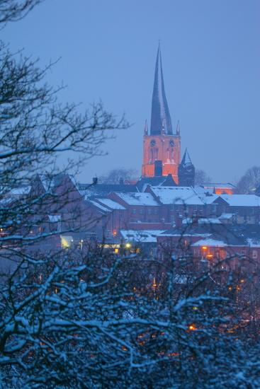 View of Town and Crooked Spire Church, Chesterfield, Derbyshire, England, United Kingdom, Europe-Frank Fell-Photographic Print