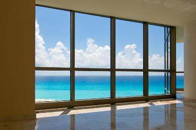 View of Tropical Beach Through Hotel Windows-nfsphoto-Photographic Print