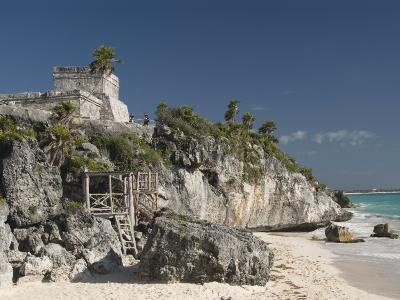 View of Tulum Beach with El Castillo in the Mayan Ruins of Tulum in the Background-Richard Maschmeyer-Photographic Print