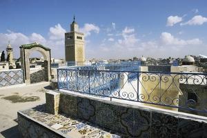 View of Tunis and Minaret of Al-Zaytuna Mosque, Tunis, Tunisia