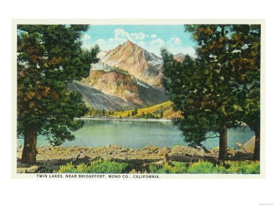 View of Twin Lakes near Bridgeport - Mono County, CA-Lantern Press-Art Print