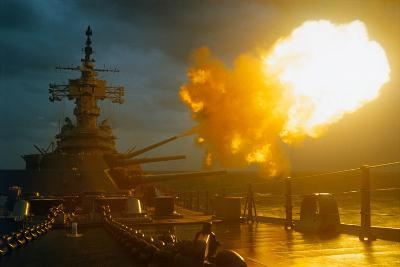 View of USS New Jersey Firing Guns-Kent Potter-Photographic Print