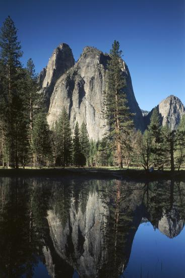 View of Valley's Sheer Rock with Pond, Yosemite National Park, California, USA-Paul Souders-Photographic Print