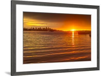 View of Vancouver Skyline from North Vancouver at sunset, British Columbia, Canada, North America-Frank Fell-Framed Photographic Print