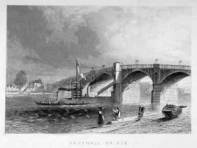 View of Vauxhall Bridge with a Steamboat on the Thames, London, C1847--Giclee Print