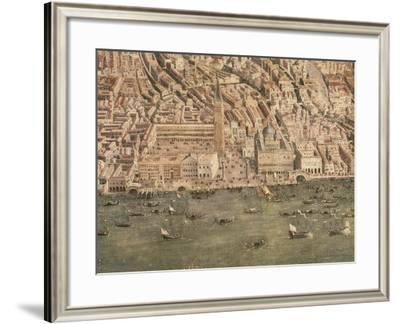 View of Venice from Above, Detail: Piazza San Marco and Palazzo Ducal--Framed Giclee Print