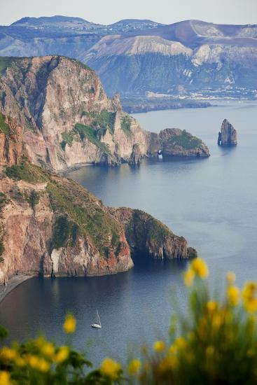 View of Volcano Island from Quattrocchi, Lipari Island, Sicily, Italy-Peter Adams-Photographic Print