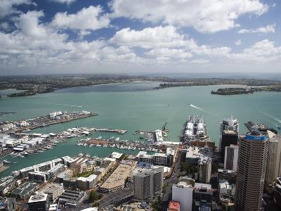 View of Waitemata Harbor from Skytower, Auckland, North Island, New Zealand-David Wall-Photographic Print