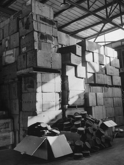 View of Warehouse Full of Boxes of Obsolete Wac Hats--Photographic Print