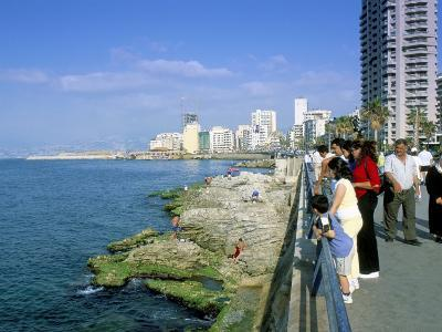 View of Waterfront and Downtown, El Manara Corniche, Beirut, Lebanon, Middle East-Gavin Hellier-Photographic Print