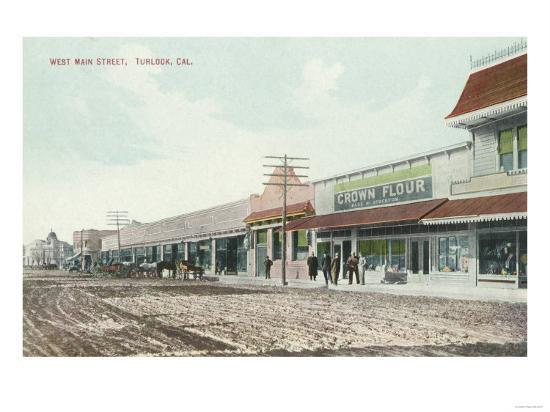 View of West Main Street - Turlock, CA-Lantern Press-Art Print