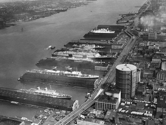 View of West Side Piers at New York City Harbor--Photographic Print