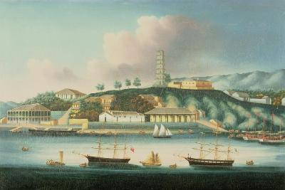 View of Whampoa Reach, with an English Barque, an American Ship and Sailing Boats--Giclee Print