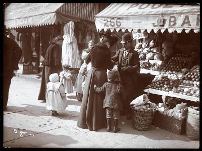 View of Women with Children Shopping at a Fruit and Vegetable Stand at 266 7th Avenue, New York,…-Byron Company-Giclee Print