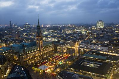 View on Christmas Lights from the Tower of the St. Petri Church in Hamburg, Germany-Christina Czybik-Photographic Print
