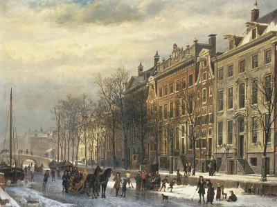 View on the Herengracht Along the Amstel at Amsterdam-Cornelis Springer-Giclee Print