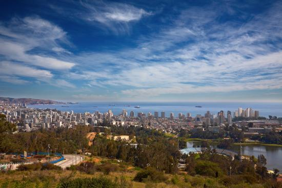 View on Vina Del Mar and Valparaiso, Chile-Nataliya Hora-Photographic Print