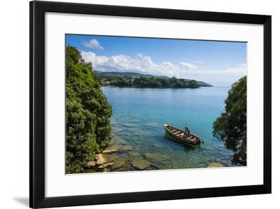View over a Canoe on Nkhata Bay, Lake Malawi, Malawi, Africa-Michael Runkel-Framed Photographic Print