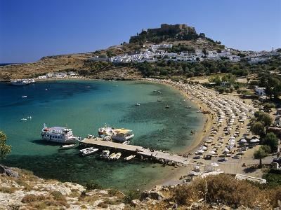 View over Beach and Castle, Lindos, Rhodes Island, Dodecanese Islands, Greek Islands, Greece-Stuart Black-Photographic Print