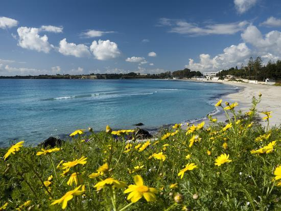View over Beach in Spring, Fontane Bianche, Near Siracusa, Sicily, Italy, Mediterranean, Europe-Stuart Black-Photographic Print