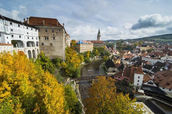 View over Cesky Krumlov and the Vltava River, UNESCO World Heritage Site, Czech Republic, Europe-Michael Runkel-Photographic Print