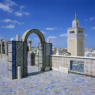 View over City and Great Mosque from Tiled Roof Top, Tunis, Tunisia, North Africa, Africa-Stuart Black-Photographic Print