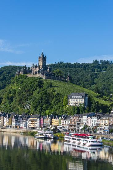View over Cochem with Cochem Castle in the Background-Michael Runkel-Photographic Print
